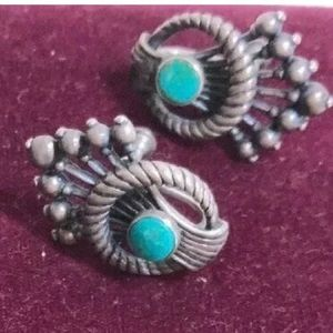 Sterling silver screw back post earrings turquoise